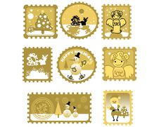 Free Large Set Of Postage Stamps Royalty Free Stock Photos - 17433618