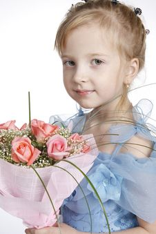 Free The Girl With A Bunch Of Flowers Stock Photos - 17434493