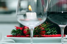 Free Candle On A Table In Christmas Stock Photography - 17435022