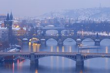 Free Prague Bridges Royalty Free Stock Photo - 17435115