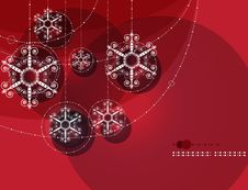 Christmas Ornaments, Garland On Red Background Royalty Free Stock Photos