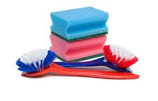 Free Cleaning Brushes And Kitchen Sponges. Royalty Free Stock Photo - 17435975