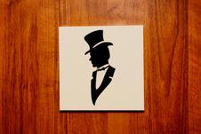 Free Pointer To The Men S Room Door Stock Images - 17436544