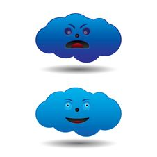 Free Mad And Happy Cartoon Clouds Royalty Free Stock Photo - 17436845