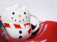 Free Hot Cocoa With Marshmallows In Snowman Mug Royalty Free Stock Photos - 17436938