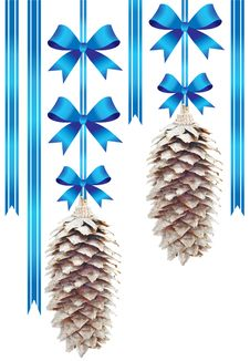 Free Two Pine Cones With Blue Bows Stock Images - 17438524