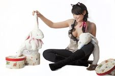 Free Girl With Toy White Rabbit Stock Photo - 17438550