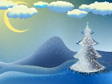 Free Christmas-tree In A Moon Night. EPS 8 Royalty Free Stock Photo - 17438835