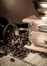 Free Coffee Beans, Copper Pot And Grinder On Sack Stock Photos - 17440973