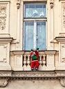 Free Santa Claus Is Climbing Up A Facade Stock Photo - 17449730