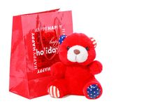 Free Teddy Bear As Christmas Gift Isolated On White Stock Image - 17441091