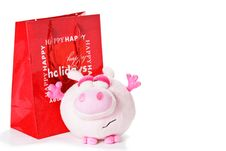 Free Toy Piglet As Christmas Gift Isolated On White Stock Photography - 17441142