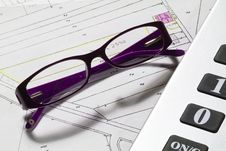 Free Calculator And Glasses Stock Photography - 17441272