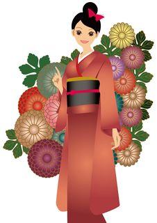 Free The Woman Who Wore A Kimono Royalty Free Stock Photos - 17441278