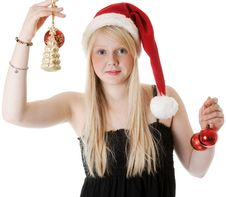Free Young Beautiful Girl In A Santa Hat Royalty Free Stock Photo - 17441395