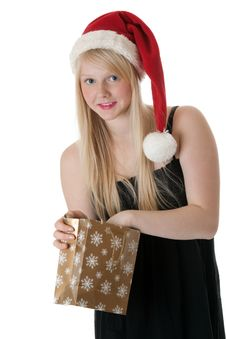 Free Young Beautiful Girl In A Santa Hat Royalty Free Stock Images - 17441429