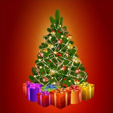 Free Christmas Tree With Gift Boxes On Red Background Royalty Free Stock Photography - 17441597