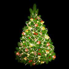 Free Christmas Tree On Black Background Royalty Free Stock Photos - 17441608