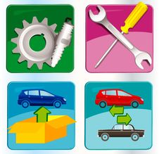 Free Auto Service Icons Royalty Free Stock Photo - 17441775
