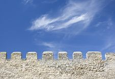 Free Merlons Of An Old Fortress Wall Royalty Free Stock Photography - 17442807