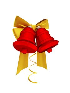 Golden Ribbons And Red Bells Royalty Free Stock Photos