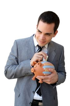 Free Businessman With The Piggy Bank Stock Image - 17443411