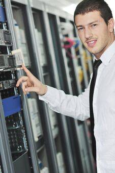 Free Young Engeneer In Datacenter Server Room Stock Images - 17444054