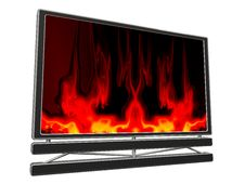 3D TV (fireplace) Royalty Free Stock Photo