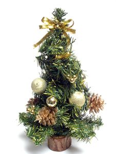 Christmas Fur-tree With Cones And Gifts Stock Images