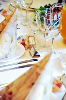 Free Table With Food And Drink Royalty Free Stock Photography - 17445017