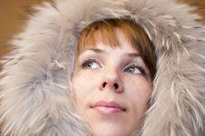 Woman In A Fur Hood Stock Photos