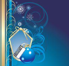 Blue Ball And Snowflakes. Christmas Card