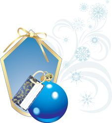 Blue Christmas Ball With Card And Snowflakes Royalty Free Stock Photos