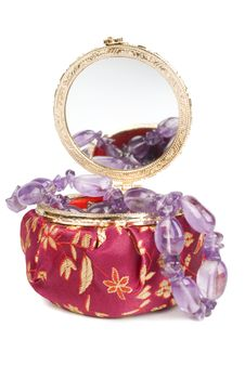 Free Amethyst Necklace In Jewelry Box Stock Photos - 17446173