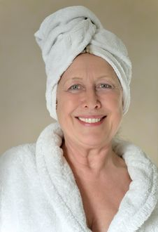 Free Happy Woman With Towel Wrapped Around Her Head. Royalty Free Stock Images - 17446959