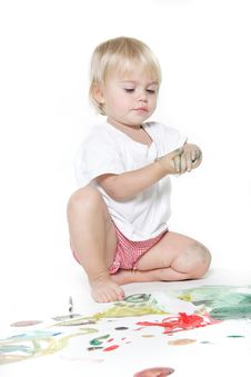 Child Painting Over White Stock Photos