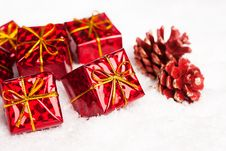 Free Red Gift Boxes With Pinecone Royalty Free Stock Photography - 17448077