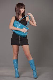 Woman Holding Blue Bag Stock Image