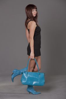Woman With Blue Bag Royalty Free Stock Images