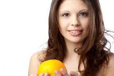Free Woman With Orange Royalty Free Stock Image - 17448276