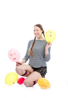 Girl With Baloons Royalty Free Stock Image