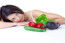 Free Young Girl With  Vegetables Stock Photos - 17448333
