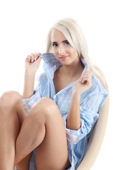 Fine Blond Women In Blue Stock Image