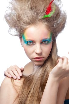 Free Beautiful Woman  With Color Makeup Stock Images - 17448384