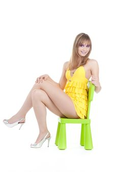 Free Brunette In Yellow Royalty Free Stock Photos - 17448418