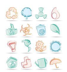 Free Simple Ecology And Recycling Icons Royalty Free Stock Photography - 17448567