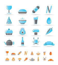 Free Shop, Food And Drink Icons Royalty Free Stock Photography - 17448587