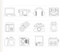 Electronics, Media And Technical Equipment Icons Royalty Free Stock Photos