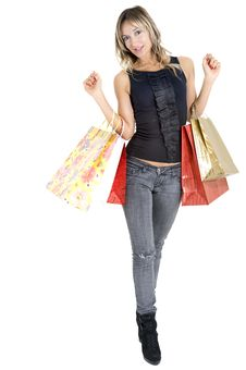Free Sexy Blond Woman With Shopping Bags Royalty Free Stock Images - 17449089