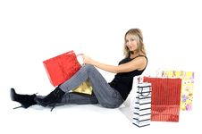 Free Sexy Blond Woman With Shopping Bags Royalty Free Stock Photos - 17449098